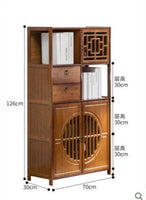 Bamboo Book Shelf With Drawers Book Case Cabinet Antique Style Storage Carving