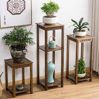 BAMBOO WOODEN SHELF PLANT STAND LADDER STORAGE CHOICE ELEGANT CLASSIC 仿古楠竹多层实木花架