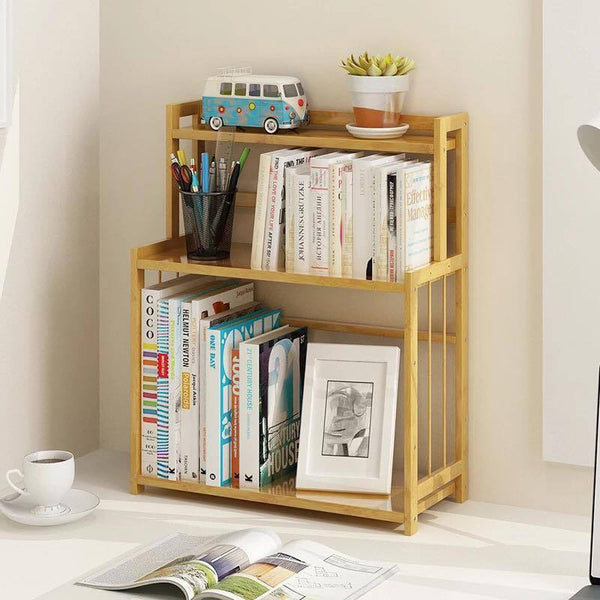 Bamboo Book Shelves Kitchen Storage Multi Use Desk Book Shelf Simple Handy桌面书架