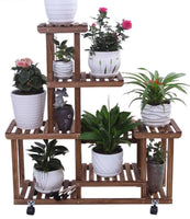 Wooden Plant Stand Shelf Multi-Tier Indoor Outdoor With or Without Wheels 多层实木花架