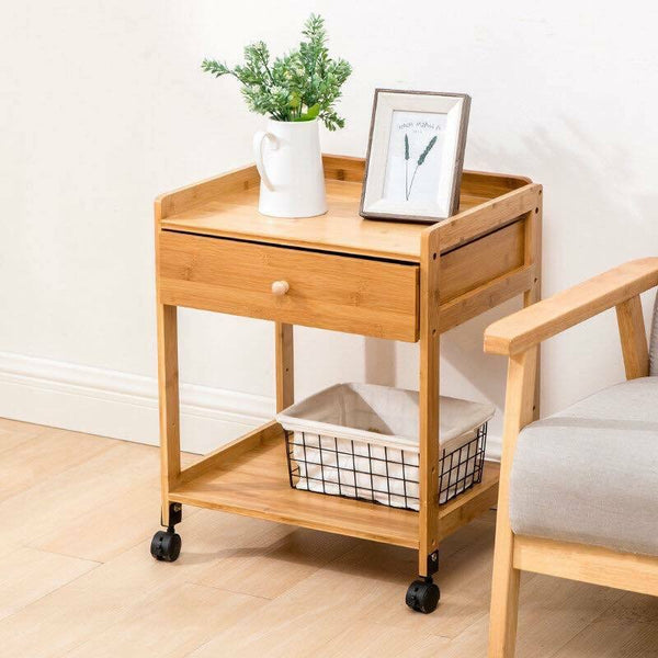 Bamboo Table Portable Bedside Table Coffee Table With Wheels Modern Storage