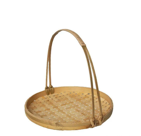 Bamboo Basket Handwoven Handmade Storage Plate Basket With Handle