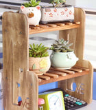 Plant Pot Stand Solid Wooden Hand Carved Tabletop Desk Small Organizer Stylish