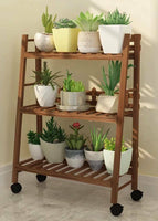 WOODEN SHELF PLANT STAND FOLDABLE MULTI TIERS INDOOR OUTDOOR GARDEN PLANTER