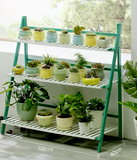 BAMBOO WOODEN SHELF PLANT STAND MULTI TIER LADDER INDOOR OUTDOOR GREEN WHITE