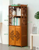 Bamboo Book Shelf With Carved Door Book Case Cabinet Antique Style Storage