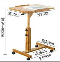 Bamboo Folding Table Laptop Stand With Wheels Study In Bed Multiple Use