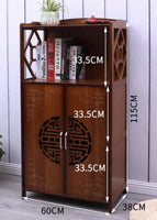 Bamboo Bookcase Bookshelf Cabinet Storage Organizer With Doors Antique Style