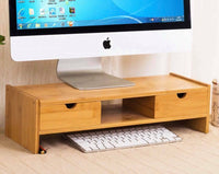 Bamboo Computer Monitor Laptop Stand Riser Monitor Base Shelf Desk Organiser