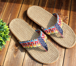 Summer Women Casual Home Rattan Slipper Sandal Bamboo Linen Slippers Shoes