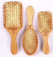 Bamboo Hair Brush Pneumatic Massage Comb Small Spherical Wooden Pins healthy竹按摩梳