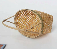 2 x Small Bamboo Basket Handwoven Handmade Carrier Basket With Handle Gift Pack