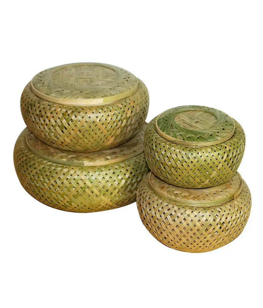 Bamboo Basket Plate Handwoven Handmade Round Storage Fruit Basket Artwork
