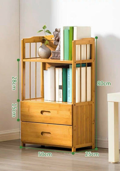 Bamboo Wooden Bookcase Bookshelf Multi-Tiers Storage Rack Shelf Office Furniture