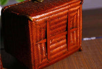 Bamboo Handwoven Handcrafted Vintage Style Container Organizer Box With Lid