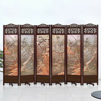 4 to 6 leaf Folding screen both side hardwood frame Privacy Screen Room Divider