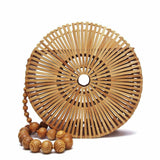 Bamboo Natural Handwoven Women Round Fashionable Travel Vintage Shoulder Bag