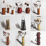 Natural Bamboo Japanese Style Vintage Flower Plants Vase Wall Home Decor 竹插花器
