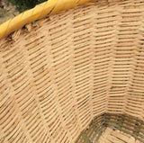 1 x Bamboo Handwoven Handmade Large Round Basket With Handle Storage Strong