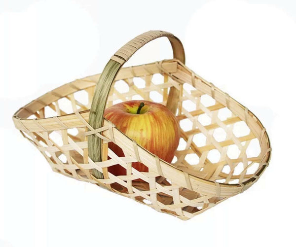 2 x Bamboo Handwoven Handmade Carrier Basket With Handle Artwork