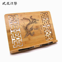 Bamboo Hand Carved Holder Rack Stand Books Reading Tablet Phone Ipad Holder