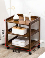 Bamboo Modern Bedside Multiple Shelves Trolley Table With Wheels Cart Rack