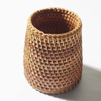 Bamboo Holder Handwoven Handmade Round Stationary Holder Natural Artwork