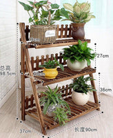 Plant Stand Pot Stand 3 Tiers Pinewood Garden Planter Indoor Outdoor Decoration