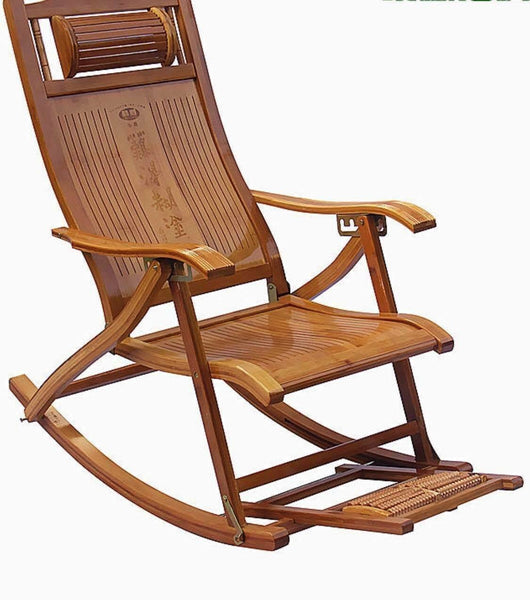 Bamboo Adjustable Rocking Chair With Foot Massager Relaxing Indoor Outdoor