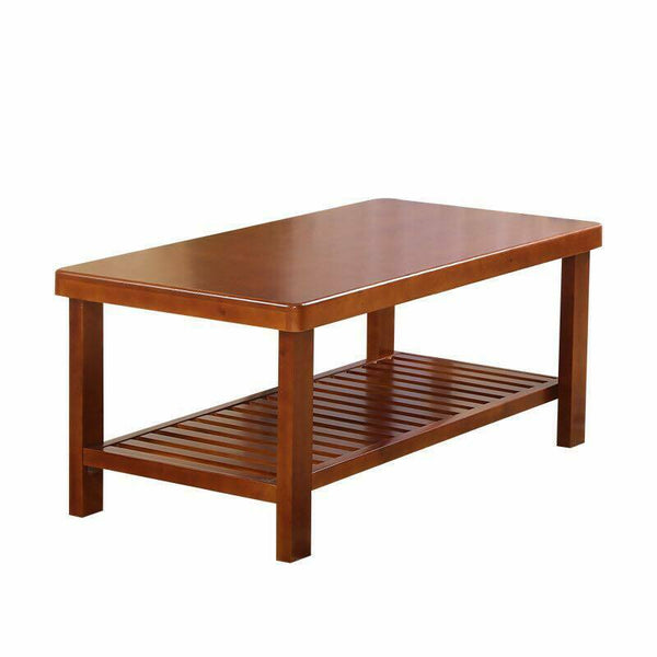 Wooden Coffee Table 2 Tiers Rectangle Solid Modern Timber Tea Table Coffee Color