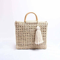 Bamboo Grass Bag Handwoven Handcrafted Women Hand Carrier Bag Latest Beach Style