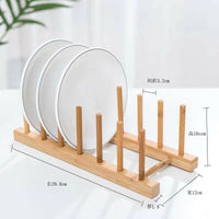 Bamboo Wooden Dish Rack Drainer Plate Holder Drying bowls rack stand 竹碗碟架