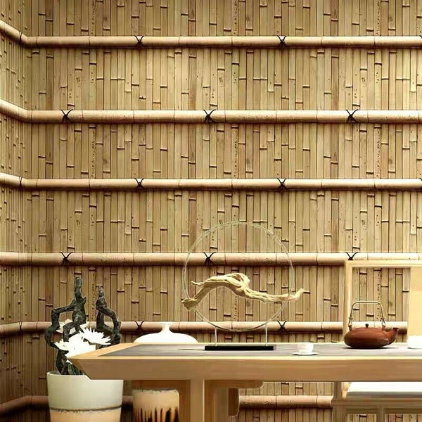 1 Roll 3D Wallpaper Bamboo 10m x 0.53m Natural Home Cafe Restaurant Water Proof