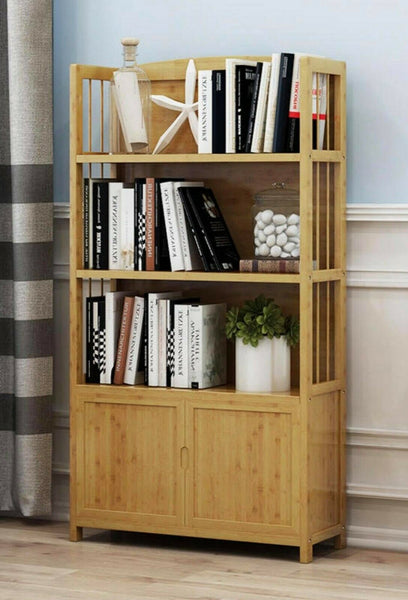 Solid Bamboo Bookcase Shelf Multi-Tiers Storage Organizer Modern Stylish