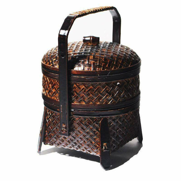 Basket Bamboo Handwoven Handcrafted Vintage 2 Tiers Carrier Basket Storage
