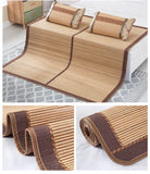 Bamboo sleeping Mat plus 2 Pillow Case both size sheet rug floor cool双面折叠竹凉席加两枕套