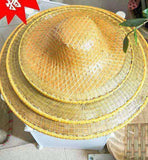 Bamboo Hat Leaf Handmade Traditional Oriental Hat Sun Waterproof Costume Party