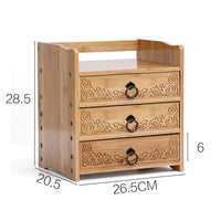 Bamboo Wooden Desk Organizer Multi-use Stationary Box Storage Decorative Drawers space saver