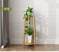 BAMBOO WOODEN SHELF PLANT STAND LADDER ORIGINAL COLOR ROUND TABLE INDOOR OUTDOOR