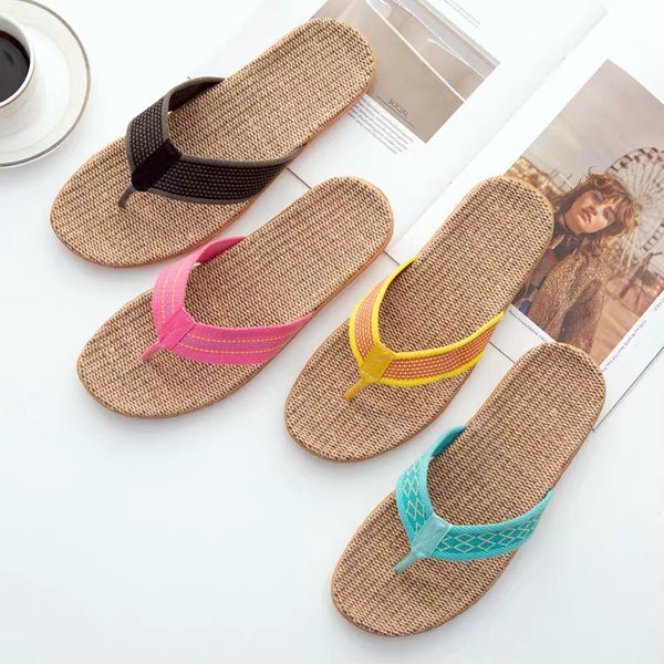 Slipper Women Men Casual Home Rattan Slipper Sandal Bamboo Linen Slippers Shoes Cooler Summer