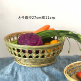 bamboo handmade basket handcraft woven bowl fruit food storage