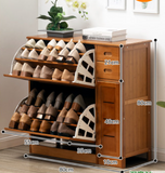 Bamboo Wooden Shoe Case With Drawer Shoe Rack Shelf Storage Cabinet Stylish