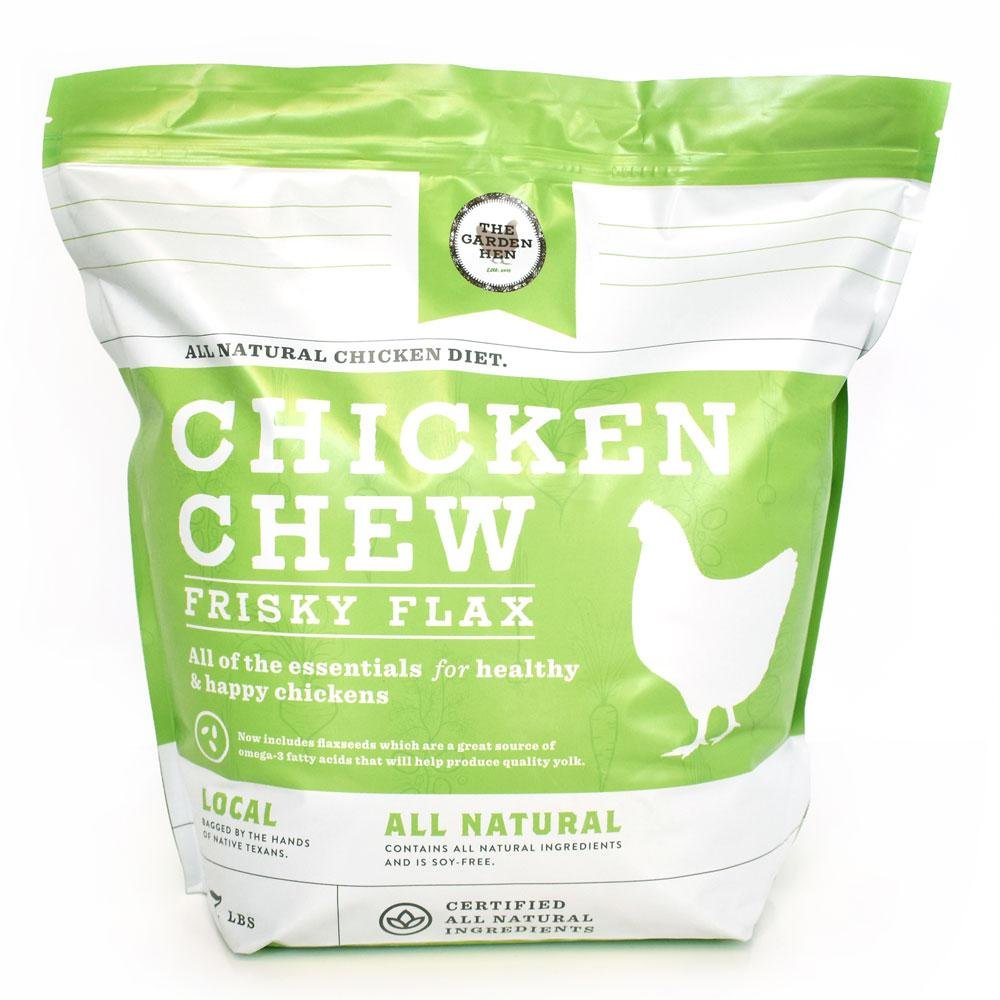 Frisky Flax: Chicken Chew Pet Chicken Feed