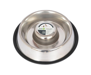 Slow Feed Stainless Steel Pet Bowl for Dog or Cat - Four Legs Boutique