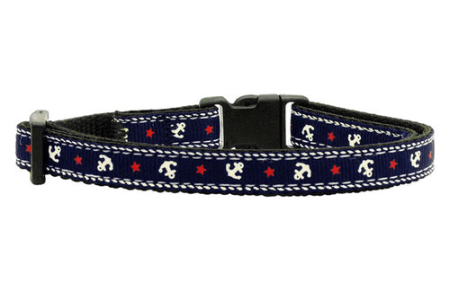 Anchors Nylon Ribbon Cat Safety Collar - Four Legs Boutique