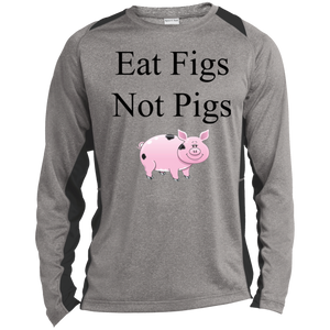 """Eat Figs, Not Pigs"" Men's Color-Block Poly Long Sleeve Shirt"