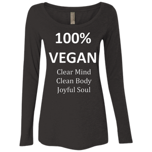 """100% Vegan"" Women's Long Sleeve Scoop"