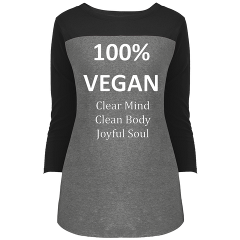 """100% Vegan"" Women's 3/4 Sleeve T-Shirt"