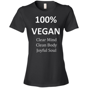"""100% Vegan"" Women's Lightweight T-Shirt"