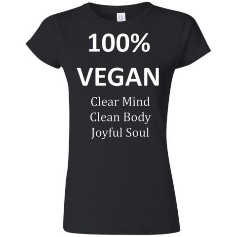"""100% Vegan"" Women's Softstyle T-Shirt"